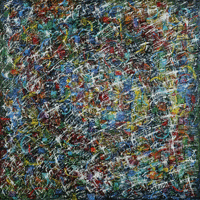 Polansky Art - Acrylic Painting  #07, Chaos, 2007, acrylic on board, 90 x 90 cm