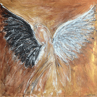 Polansky Art - Acrylic Painting  #109, Angel, 2019, acrylic on canvas, 100 x 100 cm, (Private collection)
