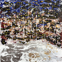 Polansky Art - Acrylic Painting  #167, Night Cappuccino, 2020, acrylic - mixed media on canvas, 80 x 90 cm. (SOLD)