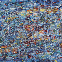 Polansky Art - Acrylic Painting  #16, Nebula, 2007, acrylic on board, 100 x 80 cm, (SOLD)