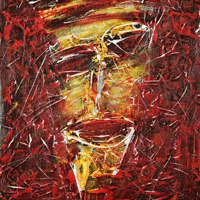 Polansky Art - Acrylic Painting  #23, Melancholic, 2007, acrylic on board, 50 x 60 cm