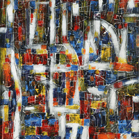 Polansky Art - Acrylic Painting  #24, City Plan, 2007, acrylic on board, 100 x 150 cm, (SOLD)