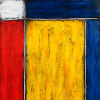 Polansky Art - Acrylic Painting  #26, Honor to Mondrian, 2007, acrylic on board, 80 x 100 cm, (SOLD)