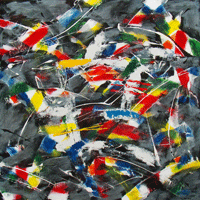 Polansky Art - Acrylic Painting  #39, Dance, 2008, acrylic on board, 100 x 100 cm