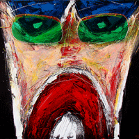 Polansky Art - Acrylic Painting   #49, Scream, 2008, acrylic on board, 80 x 60 cm