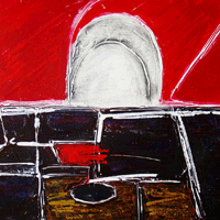 Polansky Art - Acrylic Painting   #52, At Silvan´s in Kremnica, 2008, acrylic on board, 80 x 60 cm