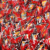Polansky Art - Acrylic Painting  #57, Red Angels, 2008, acrylic on board, 80 x 100 cm