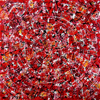 Polansky Art - Acrylic Painting  #63, Red Symphony, 2009, acrylic on board, 100 x 100 cm, (SOLD)