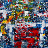 Polansky Art - Acrylic Painting  #64, Galacticus, 2009, acrylic on board, 150 x 100 cm, (SOLD)