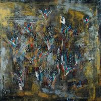 Polansky Art - Acrylic Painting  #73, Jagharks, 2010, acrylic on canvas, 90 x 90 cm