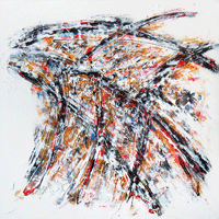 Polansky Art - Acrylic Painting  #75, Demon Wing, 2011, acrylic on board, 90 x 90 cm