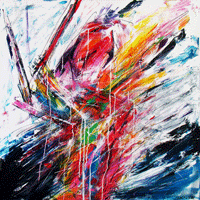 Polansky Art - Acrylic Painting  #85, Warrior, 2012, acrylic on canvas, 100 x 100 cm